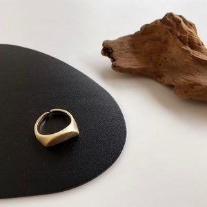 Matte Gold Signet Stackable Moon Ring